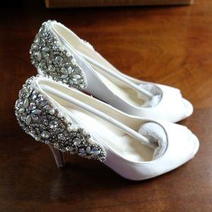 Paradox London Pink Women's Jeweled Bridal Heels